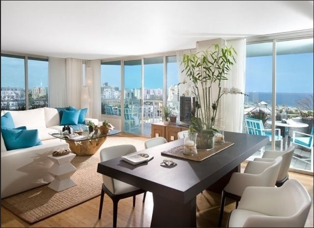South point tower oceanfront condo miami beach real for Beach condo interior design ideas