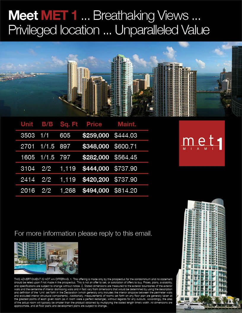 Met One Miami Condo Price List